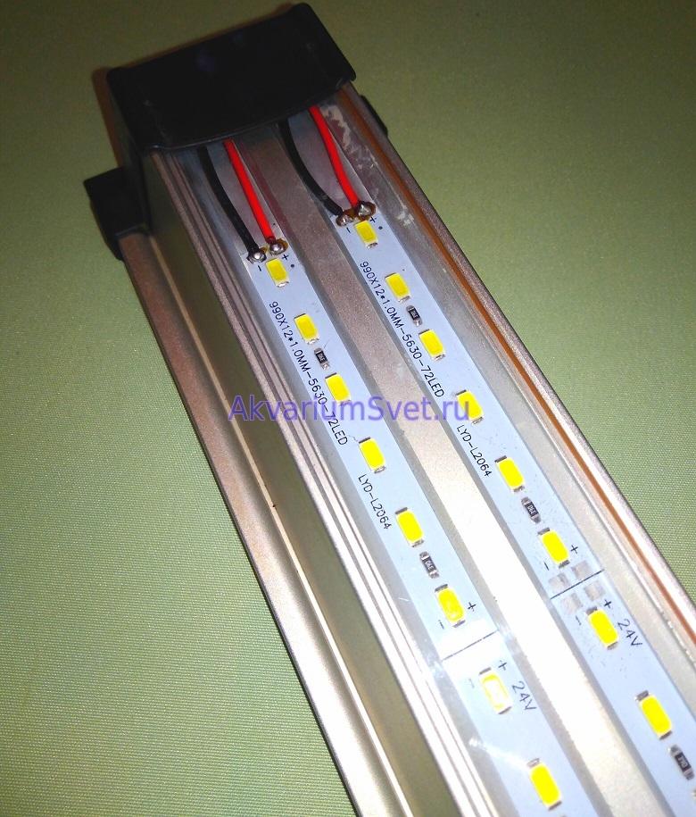 Припаянные провода светодиодных линеек.