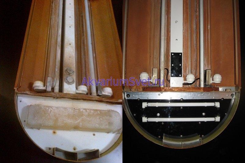 Аквариумная крышка Jebo UR9108A до и после ремонта.