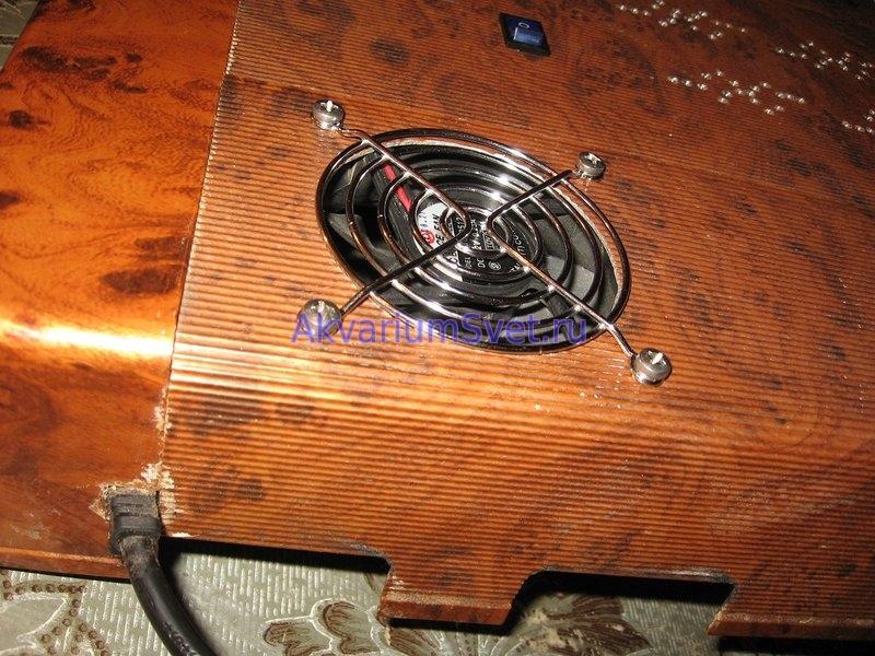 Врезка вентилятора в корпус аквариумной крышки Jebo.